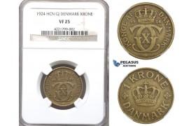 ZM742, Denmark, Christian X, 1 Krone 1924 HCN, Copenhagen, NGC VF25, Rare!