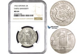 ZM745, Estonia, 2 Krooni 1932, Silver, NGC MS64