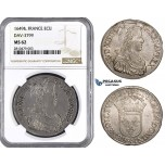 ZM747, France, Louis XIV, Ecu 1649 &, Aix en Provence, Silver, NGC MS62, Pop 1/0, Rare!