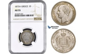 ZM749, Greece, George I, Drachma 1873-A, Paris, Silver, NGC AU55