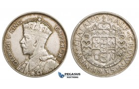 ZM753, New Zealand, George V, 1/2 Crown 1935, Silver, Toned XF