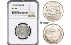 ZM754, Latvia, 2 Lati 1925, Silver, NGC MS64
