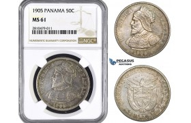 ZM757, Panama, 50 Centesimos 1905, Philadelphia, Silver, NGC MS61