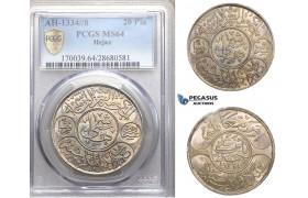 ZM763, Saudi Arabia, Hejaz, Al-Husain ibn Ali, 20 Piastres AH1334/8, Mecca, Silver, PCGS MS64