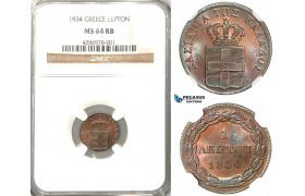 Z44, Greece, Othon, Lepton 1834, Munich, NGC MS64RB, Pop 2/1, Very Rare!