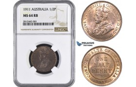 AA035, Australia, George V, Half Penny 1911, NGC MS64RB