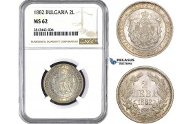AA039, Bulgaria, Alexander, 2 Leva 1882, St. Petersburg, Silver, NGC MS62