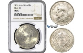 "AA044, China, ""Fat man"" Dollar Yr. 3 (1914) Silver, NGC MS63"