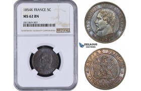 AA051, France, Napoleon III, 5 Centimes 1854-K, Bordeaux, NGC MS62BN