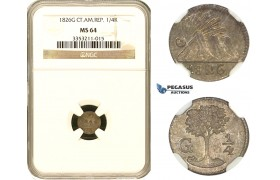AA053, Central American Rep. (Guatemala) 1/4 Real 1826-G, Silver, NGC MS64