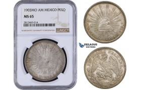 AA056, Mexico, Peso 1903 Mo AM, Mexico City, Silver, NGC MS65