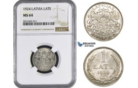 AA058, Latvia, 1 Lats 1924, Silver, NGC MS64