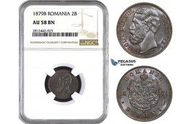 AA073, Romania, Carol I, 2 Bani 1879-B (20mm) Bucharest, NGC AU58BN