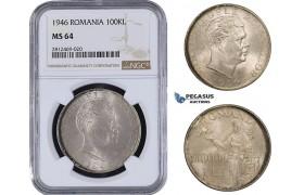 AA075, Romania, Mihai I, 100000 Lei 1946, Silver, NGC MS64