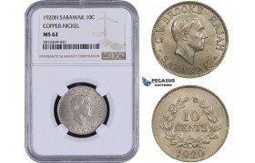AA080, Sarawak, C.V. Brooke Rajah, 10 Cents 1920-H, Heaton, Copper-Nickel, NGC MS62