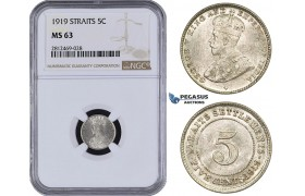 AA090, Straits Settlements, George V, 5 Cents 1919, Silver, NGC MS63