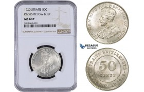 AA091, Straits Settlements, George V, 50 Cents 1920 (Cross below bust)  Silver, NGC MS64+