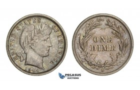 AA097, United States, Barber Dime (10C) 1904-S, San Francisco, Silver, Toned AU