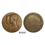 AA173, Belgium, Bronze Medal 1926 (Ø70mm, 120g) by Devreese, Leopold & Astrid of Sweden Wedding