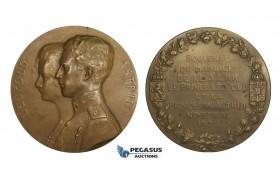 AA173, Belgium, Bronze Medal 1926 (Ø70mm, 120g) by Devreese, Leopold & Astrid of Sweden Wedding