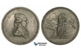 AA176, Denmark, Tin Medal 1787 (Ø57mm, 61.7g) by Holm, Henrik Gerner, Viking Ship