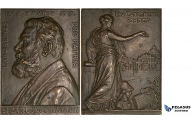 AA177, Denmark, Bronze Plaque Medal 1912 (70x52mm, 115g) by Gunnar, Carlsberg Brewery, Carl Jacobsen, Swastika