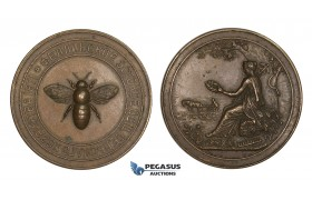AA202, Russia, Bronze Medal 1871 (Ø45mm, 33.6g) by Dimitriev, Estonia Agricultural Society, Bee