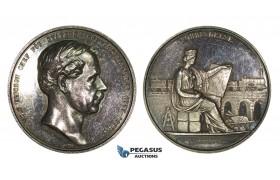 AA210, Sweden, Silver Medal 1863 (Ø48mm, 50.6g) by Ahlborn, Nils Ericson, Train, Railroad