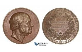 AA212, Sweden, Bronze Medal 1882 (Ø48mm, 62.3g) by Lindberg, L. A. Weser, Masonic Lodge