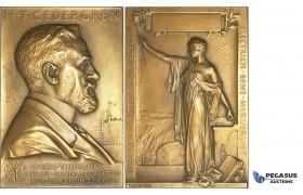 AA219, Sweden, Bronze Art Nouveau Plaque Medal 1908 (76x52mm, 132g) by Lindberg, Electricity, Cedergren