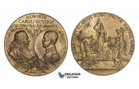 AA220, Sweden, Bronze Art Nouveau Medal 1908 (Ø56mm, 75.6g) by Kulle, In memory of Gustav Adolf