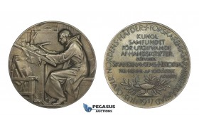 AA222, Sweden, Silver Medal 1917 (Ø55.5mm, 84.2g) by Lindberg, Scandinavian History, Swastika