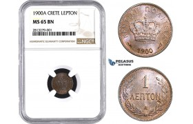 AA236, Crete (Greece) Prince George, 1 Lepton 1900-A, Paris, NGC MS65BN, Pop 1/0, Finest! Rare!