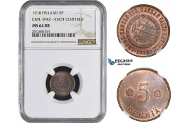 AA241, Finland (Civil War) 5 Penniä 1918 (Knot centered) NGC MS64RB