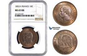 AA242, France, Napoleon III, 10 Centimes 1852-A, Paris, NGC MS65RB