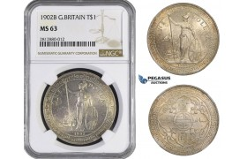 AA252, Great Britain (for Asia) Trade Dollar 1902-B, Bombay, Silver, NGC MS63