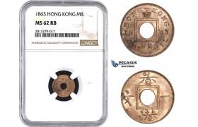 AA253, Hong Kong, Victoria, Mil 1863, NGC MS62RB