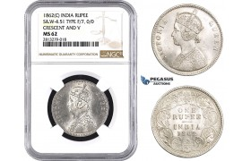 AA255, India (British) Victoria, Rupee 1862-C, Calcutta, Silver, S&W 4.51, Type F/7, 0/0, Crescent and V, NGC MS62