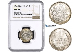 AA258, Latvia, 1 Lats 1924, Silver, NGC MS64