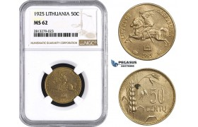 AA260, Lithuania, 50 Centu 1925, NGC MS62