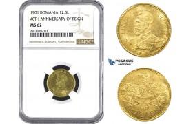 AA262, Romania, Carol I, 12 1/2 Lei 1906, Brussels, Gold, NGC MS62