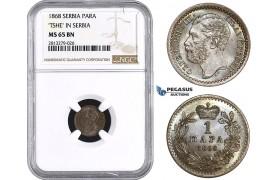 "AA264, Serbia, M. Obrenovic III, 1 Para 1868, NGC MS65BN ""TSHE"" In Serbia"