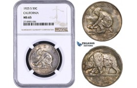 AA277, United States, Half Dollar (50C) 1925-S, San Francisco, Silver, California Jubilee, NGC MS65 (cabinet toning)
