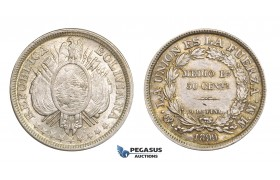 AA281, Bolivia, 50 Centavos 1899 PTS MM, Potosi, Silver, Toned aUNC
