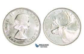 AA282, Canada, Elisabeth II, 25 Cents 1953-H, Heaton, Silver, Ch Lustrous PL