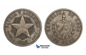 AA285, Cuba, Star Type Peso 1915, Philadelphia, Silver, VF