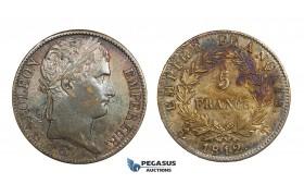 AA288, France, Napoleon, 5 Francs 1812-T, Nantes, Silver, Rainbow toning, XF