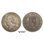 AA290, France, Louis XVIII, 5 Francs 1820-A, Paris, Silver, Toned VF-XF