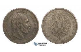 AA292, Germany, Prussia, Wilhelm I, 5 Mark 1876-A, Berlin, Silver, Toned aVF