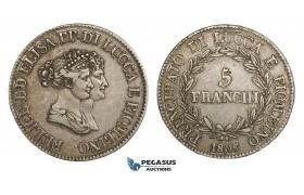 AA296, Italy, Lucca & Piombino, Felix & Elisa, 5 Franchi 1805, Silver, VF+